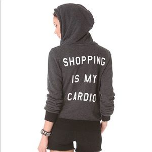 WILDFOX shopping is my cardio sweatshirt in WHITE